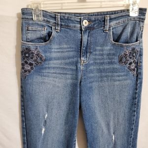 Style & Co Floral Embroidered Boyfriend Jeans